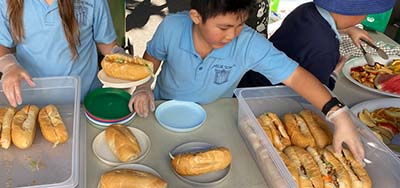 child getting food